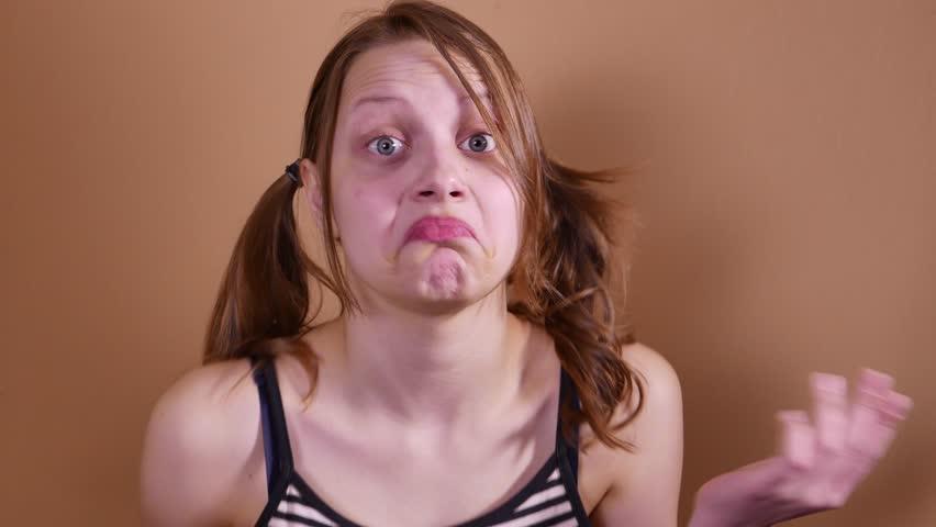 Teen girl surprise, woman with facial rash
