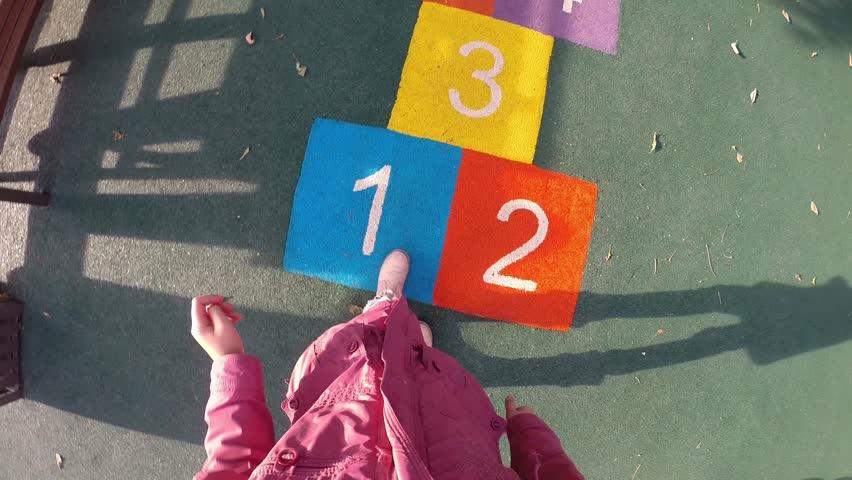 Girl jumps hopscotch on children playground, First Person View | Shutterstock HD Video #16305142