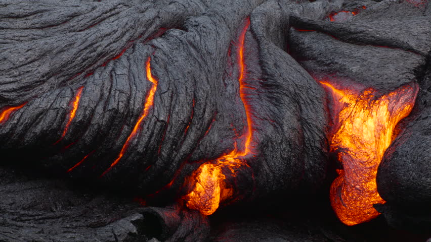 Hawaiian Lava flow by Night