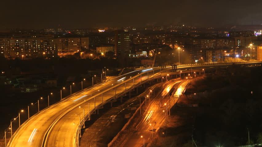 night high way. time-laps