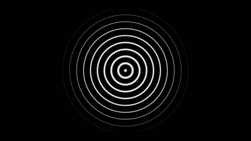Circular radiating pulse that dissipates as it moves out. White