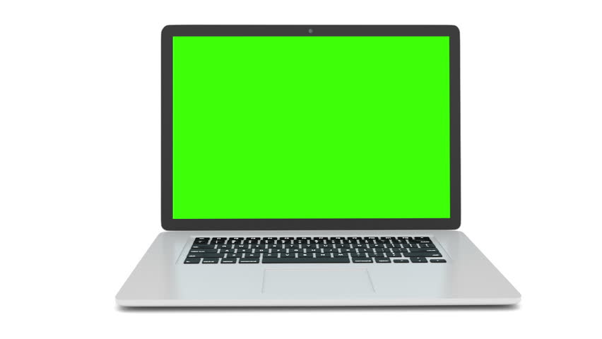 Isolated laptop with green screen on white background. Camera rotating around notebook. Template empty green screen. #16377706
