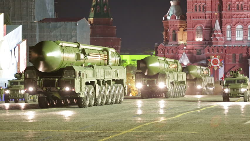 MOSCOW, RUSSIA - MAY 05, 2016: Night rehearsal celebration of the Victory Day (WWII). The RS-24 Yars (SS-27 Mod 2) is a MIRV-equipped, thermonuclear weapon intercontinental ballistic missile
