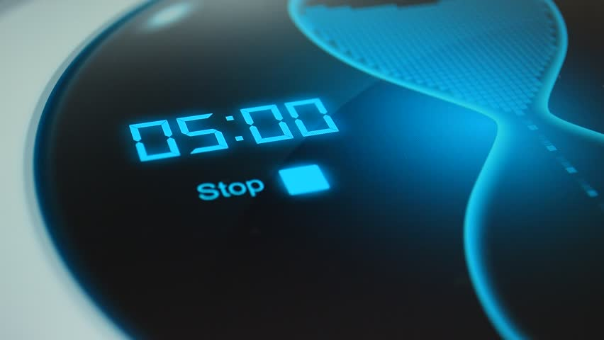 The timer for 5 minutes. Digital timer, countdown 20 seconds. Blue electronic timer with hourglass. Digital stopwatch #16442986