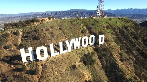 Los Angeles, California, February, 2016: High quality aerial shot of Hollywood sign letters