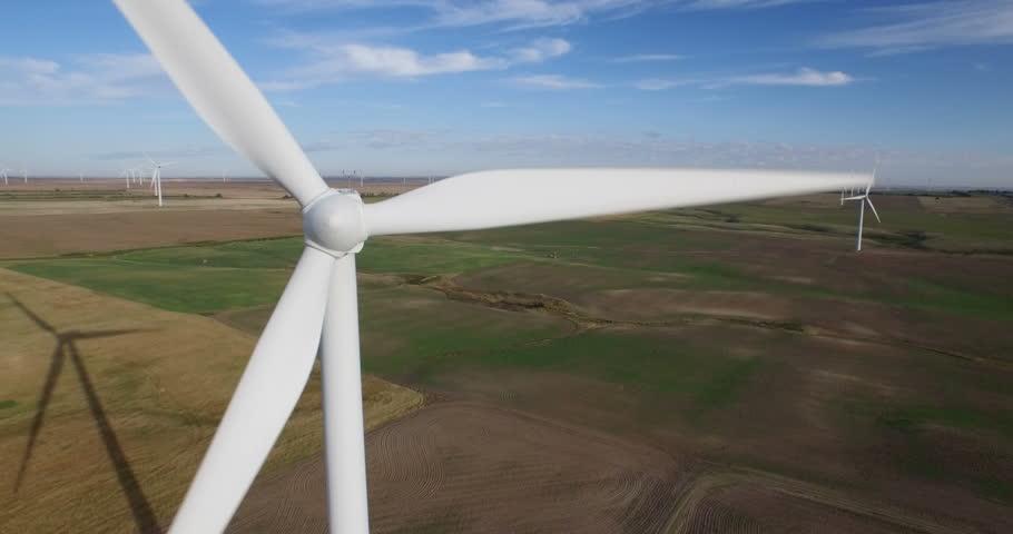 Aerial view of windmill farm on Prairies