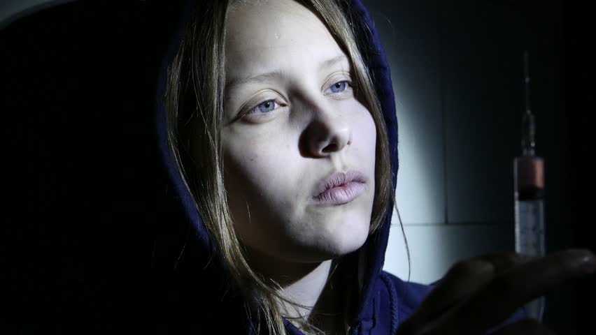 People, Woman, Drug Addiction. Face Close-up Of Young ...