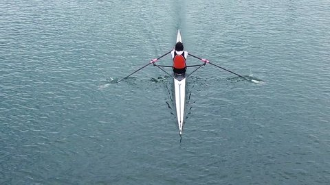 Athlete rower rowing, slow motion full HD video