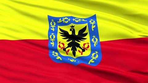 Bogota Capital City Flag of Colombia, Close Up Realistic 3D Animation, Seamless Loop - 10 Seconds Long