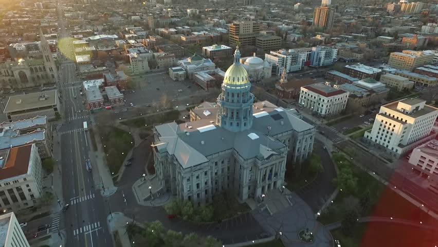 Aerial Drone Footage of Colorado Capitol in Denver at Sunrise | Shutterstock HD Video #16590946