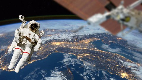 Astronaut & Satellite View From Space