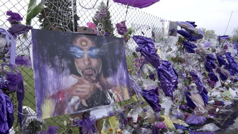 Chanhassen, MN/USA - April 29, 2016 Memorial set up outside of Paisley Park following the death of Prince.