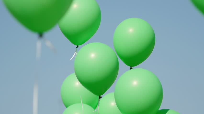 Green Balloon Rises Cycle Animation Stock Footage Video