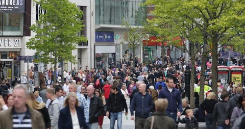 LIVERPOOL, ENGLAND - MAY 26, 2015 Colorful Busy Shopping Street Famous Brands Store Crowded Area Liverpool People Walk ( Ultra High Definition, UltraHD, Ultra HD, UHD, 4K, 2160P, 4096x2160 )