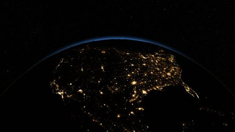 Sunrise over USA. The United States from space. Clip contains earth, usa, us, sunrise, space, night, light, city, map, United States. Images from NASA.
