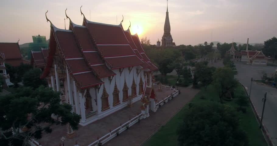 Chalong Temple in Phuket Sunsrise Ascending Spherical Shot | Shutterstock HD Video #16711276
