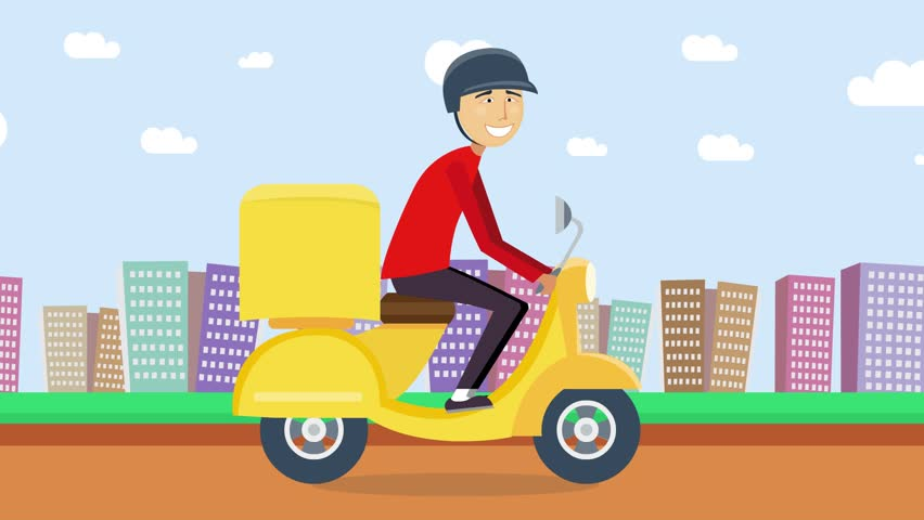 Food delivery concept. Boy riding on scooter or motorcycle, delivering fastfood. Fast and free transport. Free shipping, restaurant service. Cartoon animation