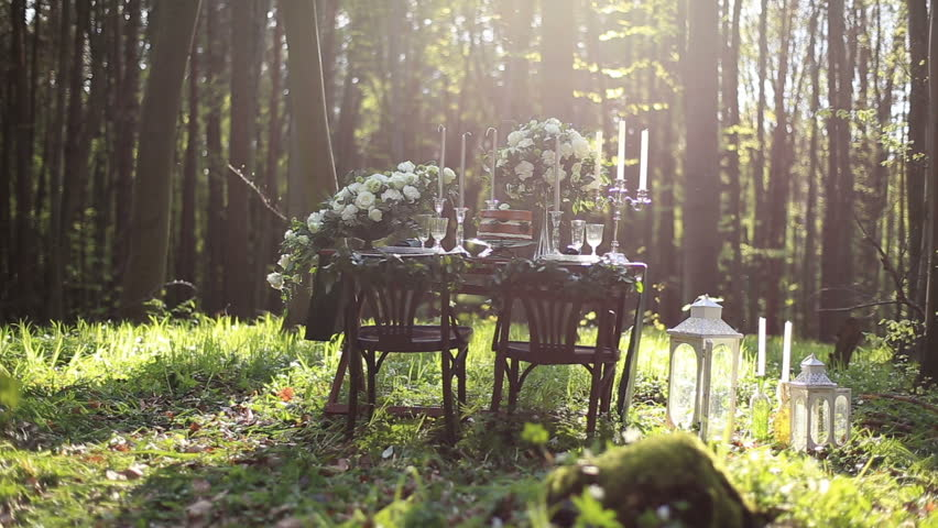 Decoration lantern vintage flower dome in wedding reception stock wedding decorated table setted for two on nature in the forest wedding decoration of white junglespirit Gallery