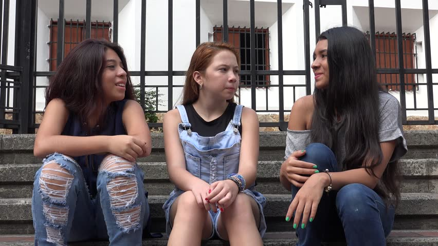 Teen Girls Sitting And Talking | Shutterstock HD Video #16735516