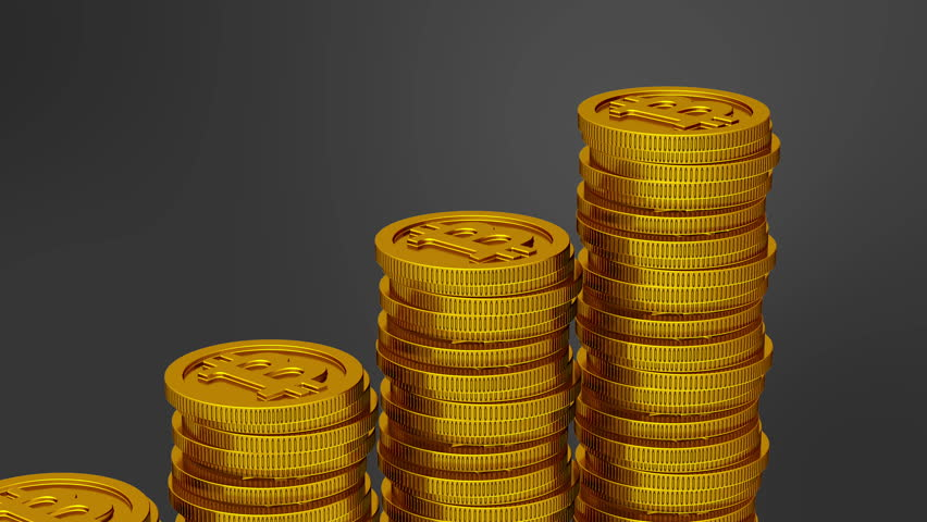 Increasing stack of bitcoins ( 4k, Alpha, Loop ) | Shutterstock HD Video #16738936