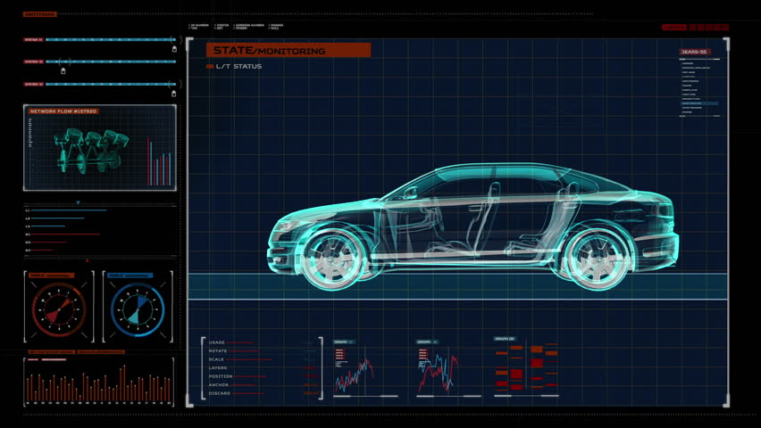 Automobile Technology. X-ray Side view. in digital display panel. user interface.