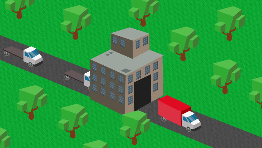 isometric cartoon  factory or industrial production, shipping trucks