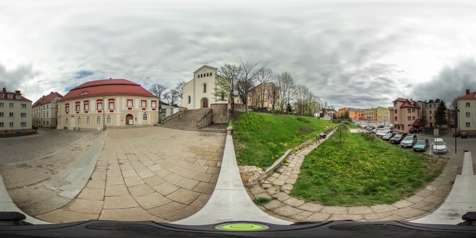 a View to the Low-Rise Houses Parked Cars Small Buildings, vr Video 360, Panorama of the Street, Little Planet Video, Green Lawns, Paving Stone, Video For Virtual Reality, Time Lapse, Obsolete