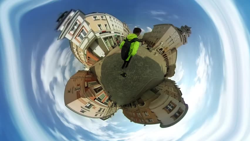 People Are Walkingin Srossroads, Old City Street, Spherical Panorama Video, vr Video 360, Little Planet Video, Video For Virtual Reality, Man in Bright Yellow Sporty Jacket Approaches to a Camera,