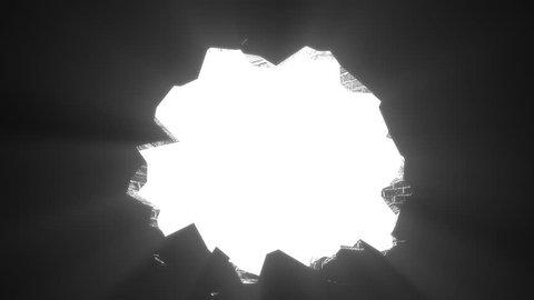 Wall break through demolish smash escape to white light transition 4K