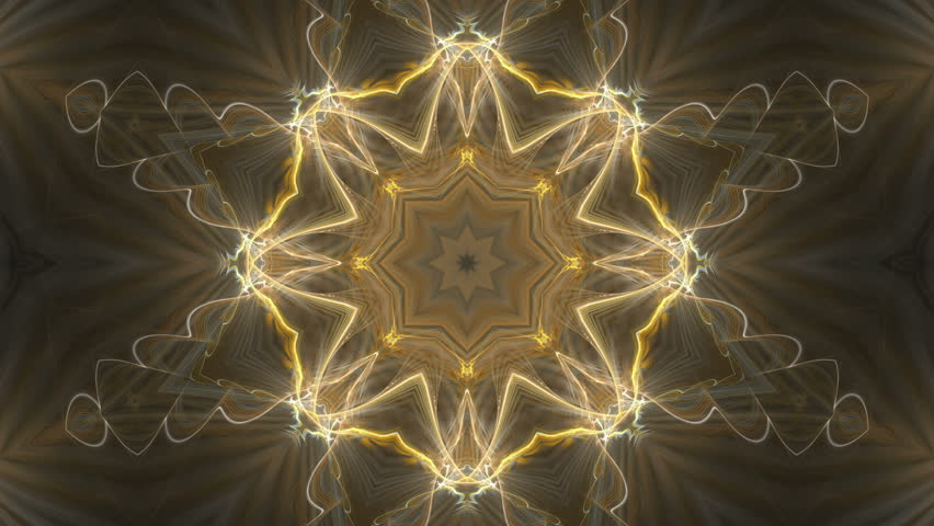 Orange Kaleidoscopic Stars â?? seamlessly looping flame fractal animation.