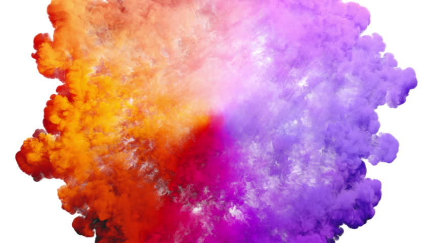 Colored smoke radial explosion on white (slow motion, with alpha matte, full hd) | Shutterstock HD Video #16795966