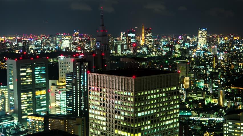 Tokyo - Night aerial city view. Shinjuku 2016. 4K resolution time lapse.