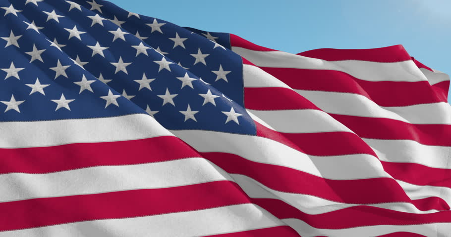 Beautiful looping flag blowing in wind: The United States