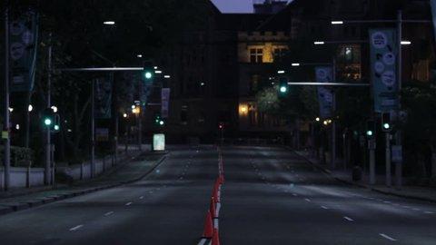 An empty street at night in Sydney. Sydney, Australia: July, 2015