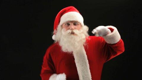 Santa dancing in front of the camera