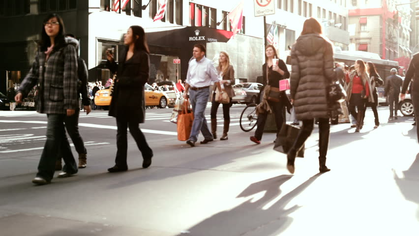 NEW YORK CITY, NY - NOVEMBER 25: People walking on Streets of New York during Black Friday shopping on November 25, 2011 in New York City, New York.