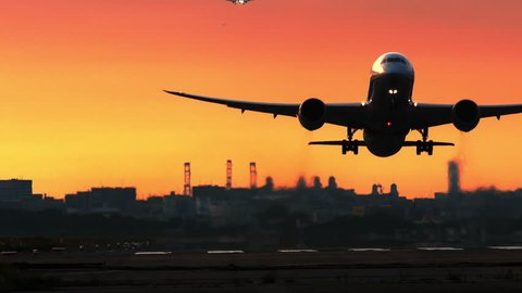 Jet plane depart from airport in sunset - Airplane, Taking Off, Airport Runway, Commercial Airplane, Business