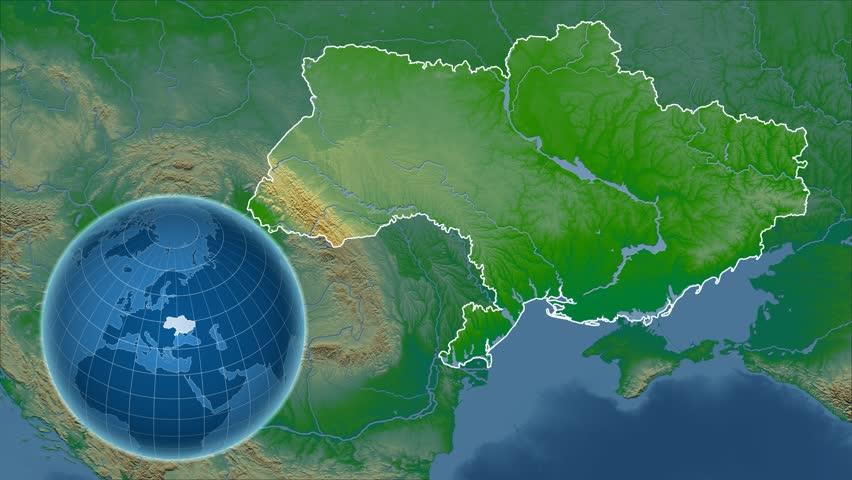 Minsk belarus february 23 2015 london on the world map google ukraine shape animated on the physical map of the globe 4k stock footage clip gumiabroncs Choice Image