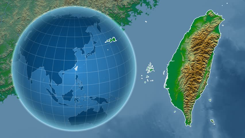Taiwan Shape Animated On The Satellite Map Of The Globe Stock - Map of the globe