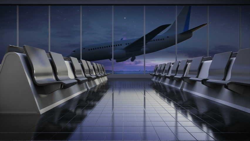Arrival airplane in flight waiting hall. night. moving camera.3D illustration,3D rendering. | Shutterstock HD Video #16896076