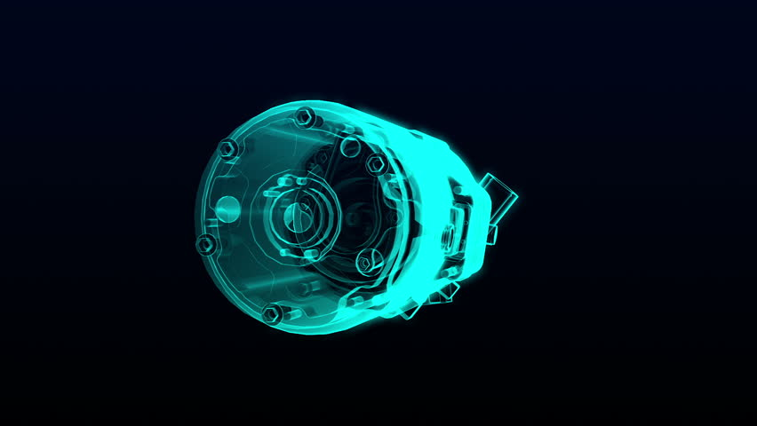 Automobile Technology. car compressor  X-ray image 360 degree view.animation.3D illustration,3D rendering.