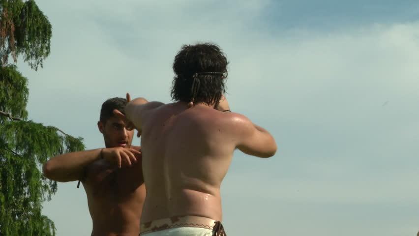 Greek wrestler fighting during the reenactment â??Tempora Aquileiaâ?� on June 22, 2013 in Aquileia, Italy | Shutterstock HD Video #16898386