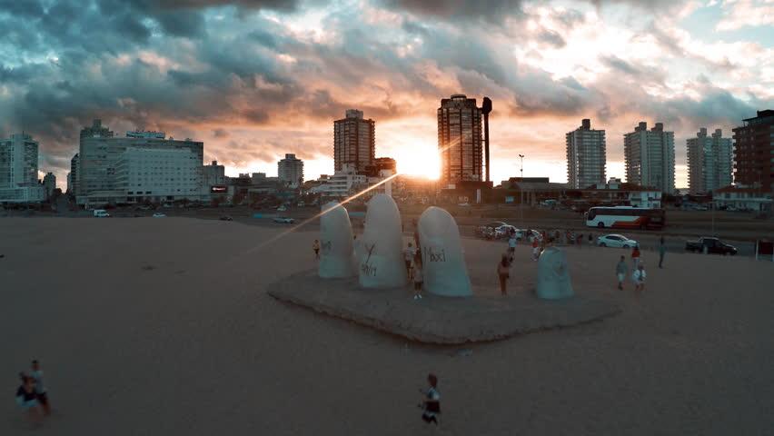 Punta del Este, Uruguay - March 16, 2015: Tourists visiting Brava Beach in Punta del Este, Uruguay