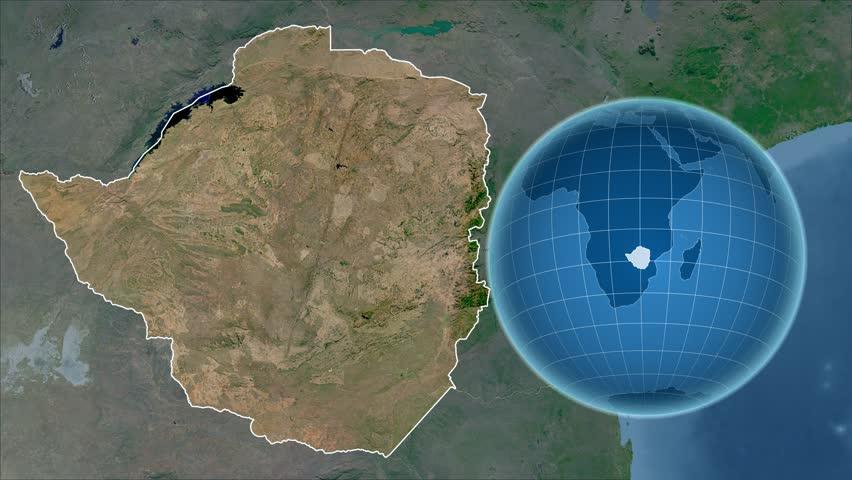 Zimbabwe Zooming Into Republic Of Zimbabwe On The Globe Stock - Republic of zimbabwe map
