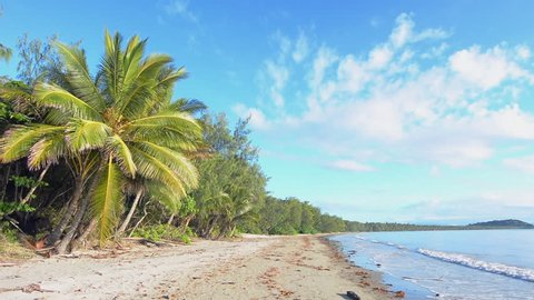 Panoramic landscape of Four Mile Beach in Port Douglas at the tropical north of Queensland, Australia