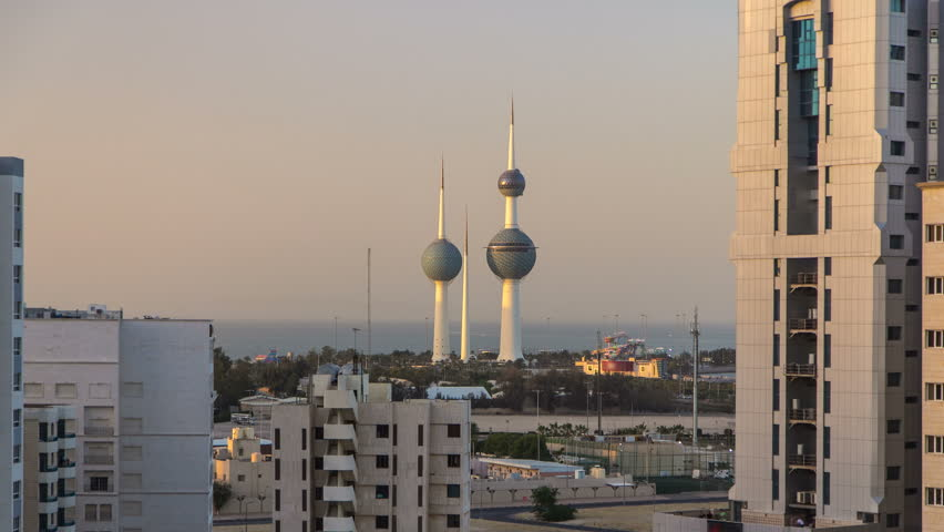 The Kuwait Towers timelapse - the best known landmark of Kuwait City. Kuwait, Middle East