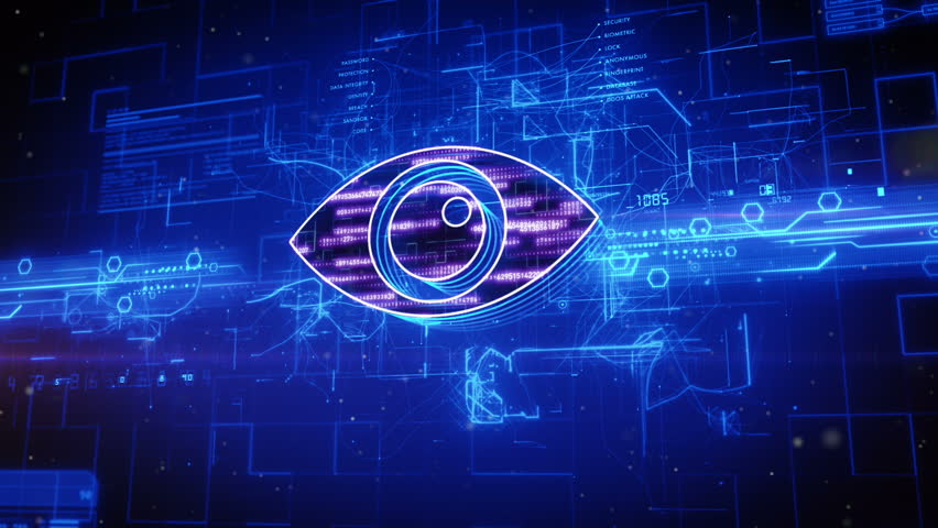 Abstract animation of eye icon in digital cyberspace | Shutterstock HD Video #16982836