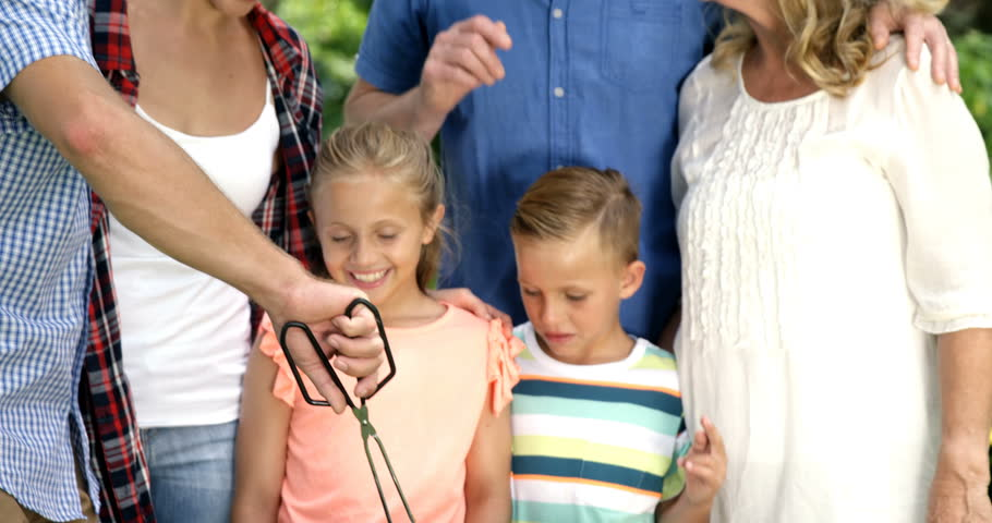 Happy family doing barbecue together in the garden | Shutterstock HD Video #17012416
