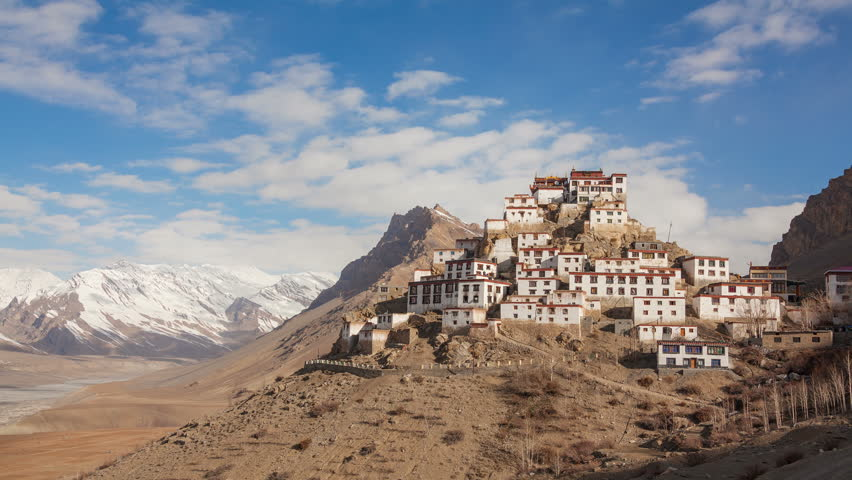 Time Lapse of Key Gompa Monastery (4166 m) at sunrise. Spiti valley, Himachal Pradesh, India. Canon 5D MkII.