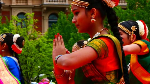 STOCKHOLM, SWEDEN, MAY 2016: Group of Indian young girl dancers performing traditional bollywood dance in the Indian cultural festival in Stockholm kungsträdgården on 21 of May.